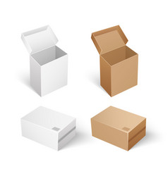 packages and boxes with opened cap set vector image