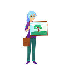 Painter woman showing picture vector