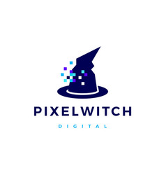 pixel witch logo icon vector image