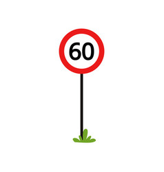 red round sign with number 60 - indicate maximum vector image
