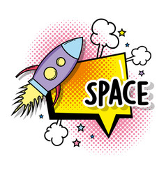 Rocket with stars space and chat bubble vector