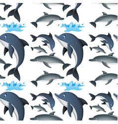 Seamless background with happy dolphins vector