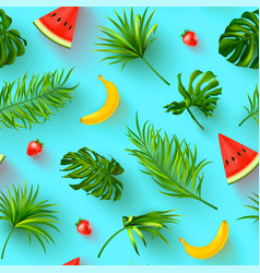 Seamless summer pattern with tropical plants and vector