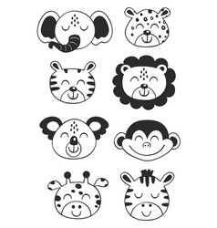 Set isolated tropical black animal faces vector