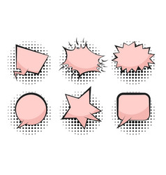 set of cute pink retro comic speech bubbles vector image
