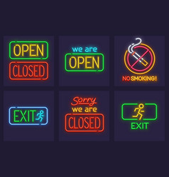set of neon service signs vector image