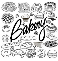 set sketches hand drawing baking products vector image