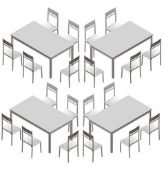 set with tables and chairs isometric view vector image