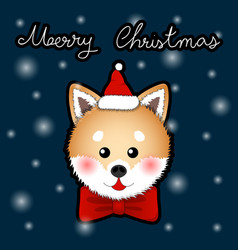 shiba inu santa claus dog greeting card vector image