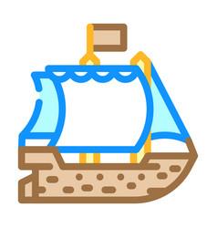 Ship pirate color icon vector