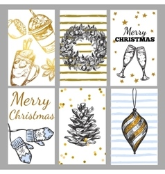 Sketch Christmas Tag Set vector image