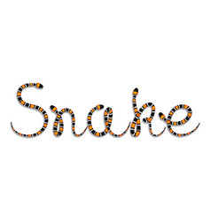 snake word composed of colored serpents vector image
