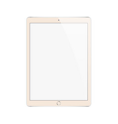 Tablet in ipad style gold color and pencil or vector