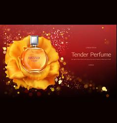 Tender perfume 3d realistic promo banner vector