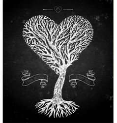 Tree crown like heart on black vector image