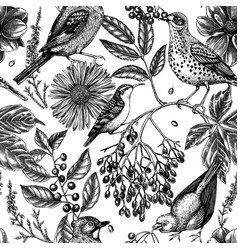 trendy colored autumn background birds seamless vector image