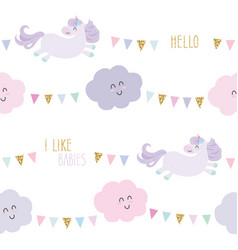 unicorn bithday seamless pattern background with vector image
