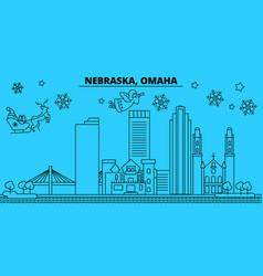 united states omaha winter holidays skyline vector image