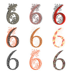 Various combination numeric figures 6 vector