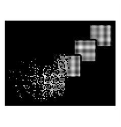 White dissipated dot halftone blockchain icon vector