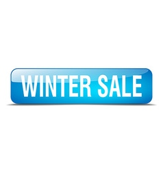 winter sale blue square 3d realistic isolated web vector image