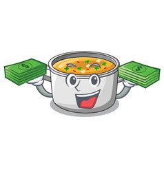 with money cooking pot of soup isolated on mascot vector image