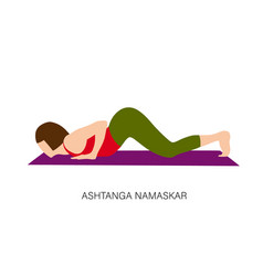 Yogi woman in ashtanga namaskar vector