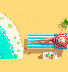young woman bikini on sun lounger holding coconut vector image