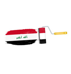 brush stroke with iraq national flag isolated on a vector image