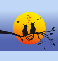 cats on tree branch vector image