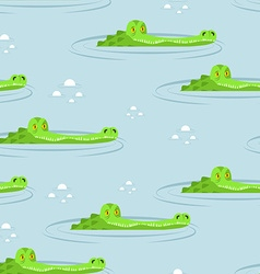Crocodile in water seamless pattern Large vector image