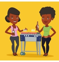Friends having fun at barbecue party vector image vector image