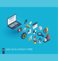 web development integrated 3d icons growth and vector image vector image