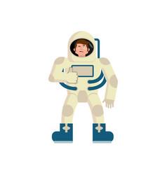 Astronaut winks emoji spaceman thumbs up happy vector