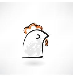 Chicken head grunge icon vector image vector image