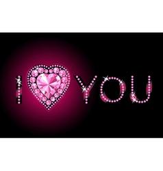 diamond heart background vector image vector image