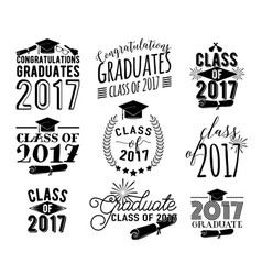 graduation wishes overlays labels set monochrome vector image