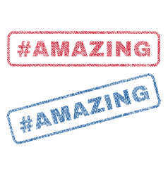 Hashtag amazing textile stamps vector