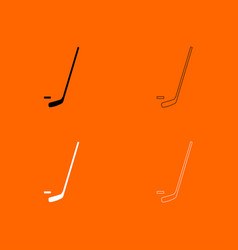 hockey sticks and puck black and white set icon vector image vector image