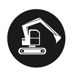 icon hydraulic tracked excavator vehicle vector image