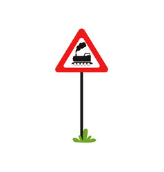 Triangular road sign with train without barrier vector