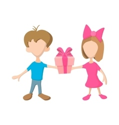 A girl and a boy holding a gift box with ribbon vector image