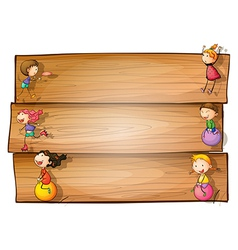 A wooden signage with kids playing vector image vector image
