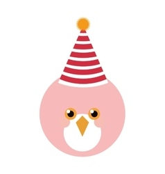 Cute pink bird with party hat vector image vector image