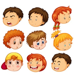 Faces of girl and boys with emotions vector image vector image