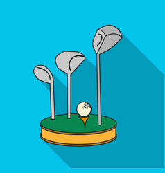 golf ball and clubs on grass icon in flat style vector image