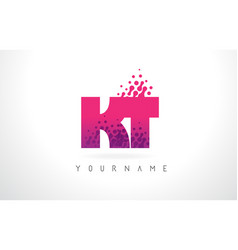 kt k t letter logo with pink purple color and vector image