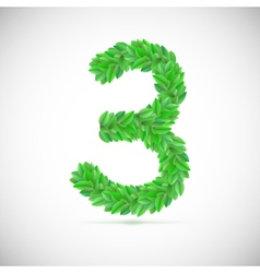 Number three made up of green leaves vector image vector image