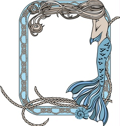 Sea frame with mermaid and knots vector image vector image