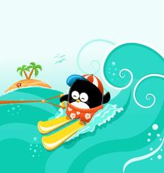 Water Skiing Penguin vector image